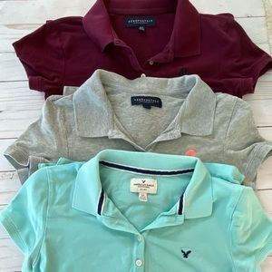 3 junior girls polo Aeropostale American Eagle